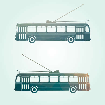 commute: Retro public transport vehicle city transit shorter distance trolley bus, side view, isolated, Green backround.