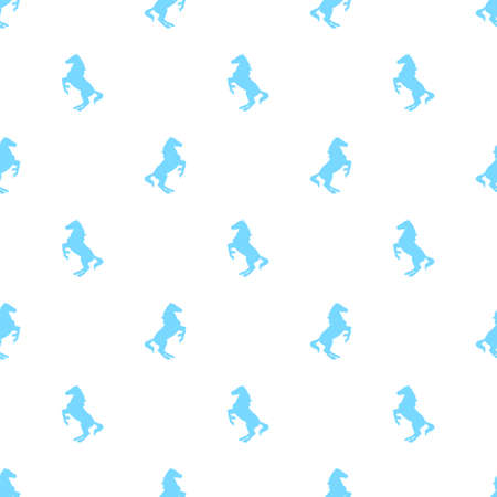 herd: Vector seamless pattern with active horses. Horse pattern in blue colors on white background.