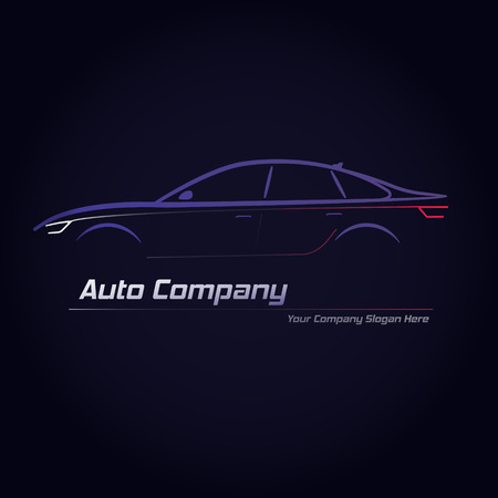blue signage: Silhouette of car with red and white headlights on dark blue background. Vector illustration. City sedan car. Ideal for your business signage.