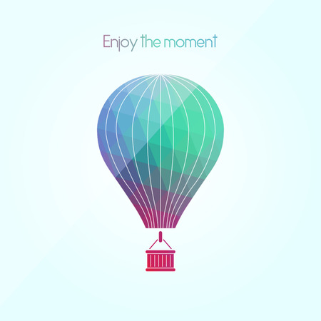 affirmation: Enjoy every moment. Inspiring phrase. Motivation quote. Positive affirmation. Creative vector typography concept design illustration with light blue background. Colorful aerostat. Polygonal image with abstract colorful air balloon.