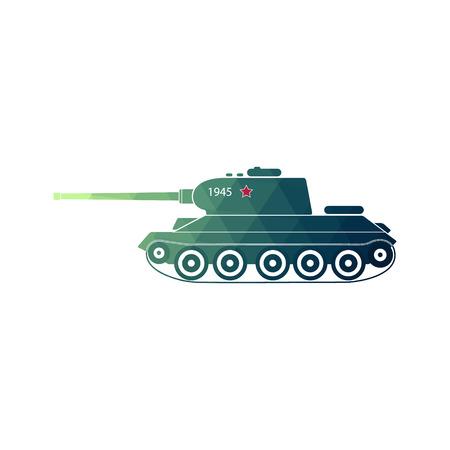 World War Two battle tank. Soviet medium tank, side view. Retro icon tank. weapon vector illustration