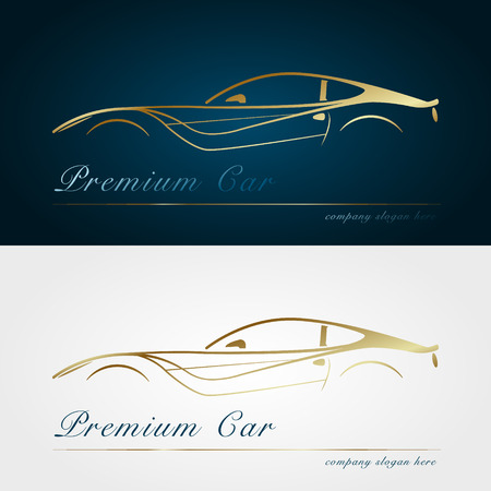 gold silhouette: Car company dark and white background. Gold silhouette car. Badge, app emblem. Design element. Vector illustration.