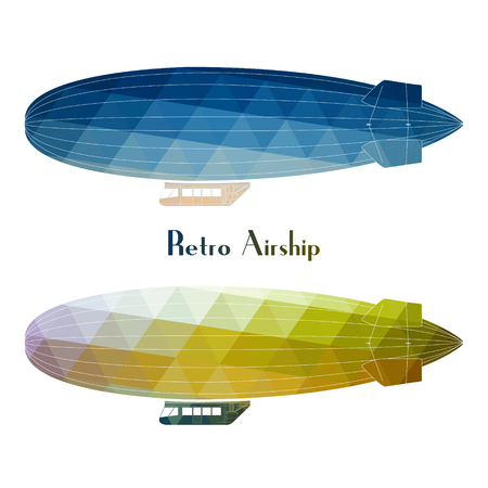 Vector blimp retro aircraft flying with white background. Retro airship dirigible balloon flight, flat design, side view.