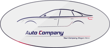 headlights: Silhouette of car with red and white headlights on gray background. Vector illustration. City sedan car. Ideal for your business signage. Illustration
