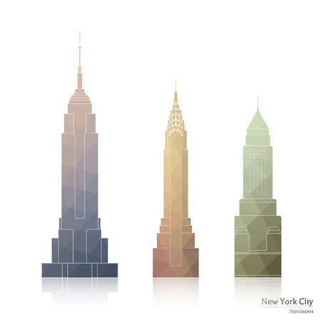 01 mai 2016: Collection des icônes de trois gratte-ciel célèbres de New York, le style de la ville polygonale: Empire State Building, le Chrysler Building - Pour Usage éditorial uniquement