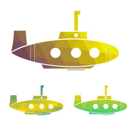 Vector illustration set of cartoon yellow submarine. design element. Illustration