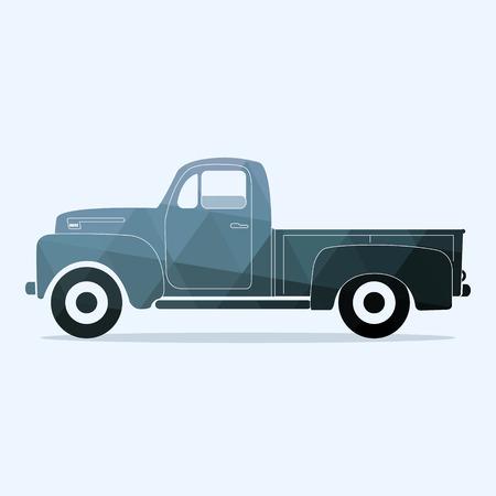 camioneta pickup clásica. ilustración vectorial de estilo plana. logotipo retro camión plano de la vendimia. Ilustración gráfica de estilo poligonal.