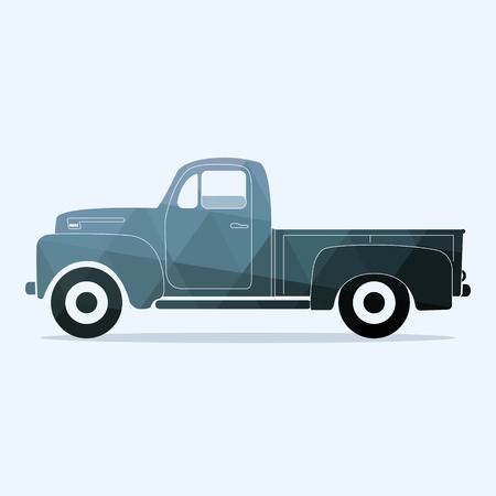 Classic pickup truck. Flat styled vector illustration. flat vintage retro truck logo. Graphic illustration on polygonal style.
