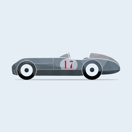 bolid: Vintage vector sport racing car with the number seventeen. Vector illustration. Illustration