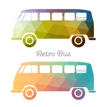 vw: Retro multicolor bus. Vintage van flat design. illustrtion.