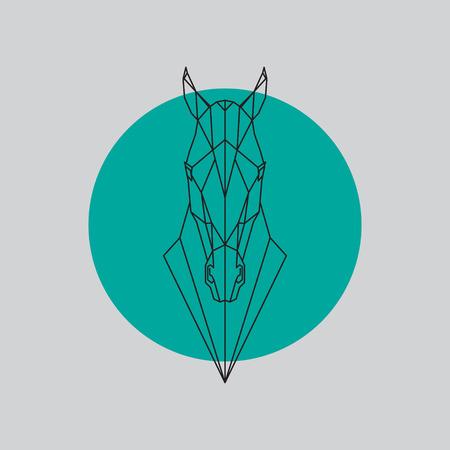 Silhouette de lignes géométriques tête de cheval isolé sur fond gris et vert. Illustration d'élément de design vectoriel