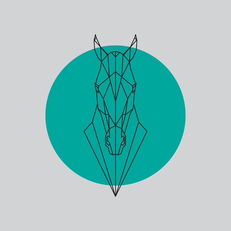 Silhouet van paard het hoofd geometrische die lijnen op grijze en groene achtergrond wordt geïsoleerd. Vector ontwerpelement illustratie.