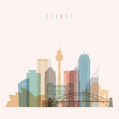 sydney skyline: Transparent styled Sydney state New South Wales skyline detailed silhouette. Trendy vector illustration.