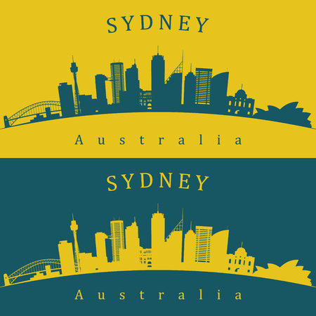 Two Sydney skylines in green and yellow background. Editable vector file. Illustration
