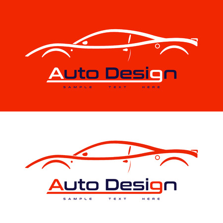 Automotive vector logo design with sports car coupe vehicle silhouette on red background. Vector illustration for your design.