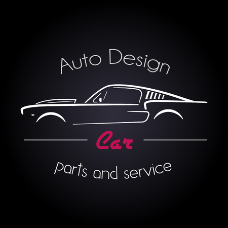 Auto Company Logo Design Concept with classic American style sports Car Silhouette on black background. Vector illustration.