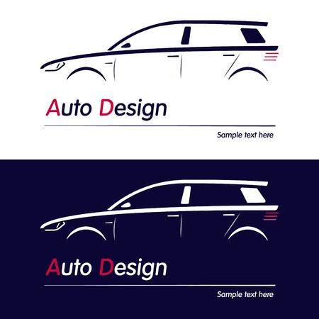 car business: Vector company logo icon element template car contour shape sedan blue automobile service auto. Vector illustration for your buisness.
