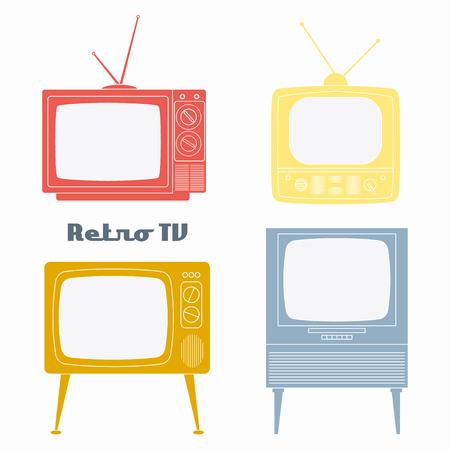 tv set: Retro Television Icons. Vector illustration color retro tv set isolated on white background. Flat Design Illustration