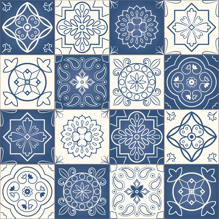 'dark ages': Seamless patchwork pattern from dark blue and white Moroccan tiles. Middle Ages Ornament Texture Template. Portuguese tiles, Azulejo, ornaments.