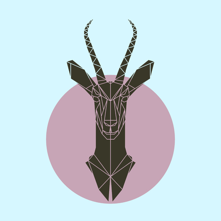 Antelope in polygonal style. Triangle illustration of animal for use as a print on t-shirt and poster. Geometric low poly antelope design. Flat gazelle icon.