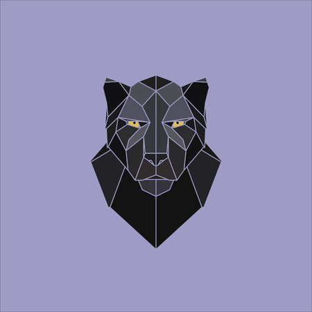 Symmetrical geometric illustration black panther. Made in polygonal style.