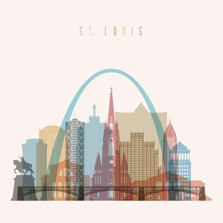 missouri: Transparent styled St. Louis state Missouri skyline detailed silhouette. Trendy illustration.
