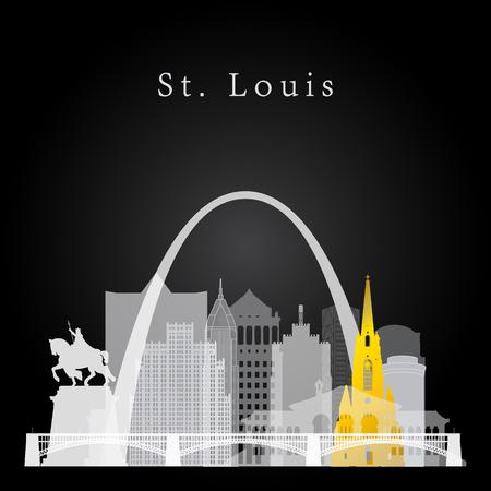 silhouette grafica raffigurante lo skyline di bianco e giallo St. Louis su sfondo nero. Vettoriali