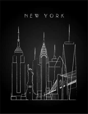 New York City Skyline with Chalk Drawing on a black Blackboard. Vector illustration.