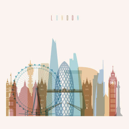 london tower bridge: Transparent styled London skyline detailed silhouette. Trendy vector illustration. Illustration