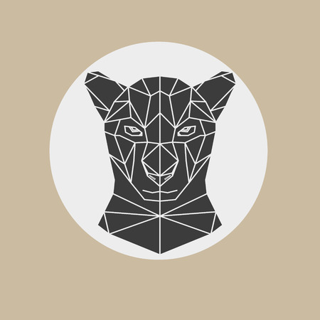 Black panther head geometric lines silhouette isolated on light brown and white background. Abstract geometric polygonal triangle illustration for use in design for card, invitation, poster, banner.