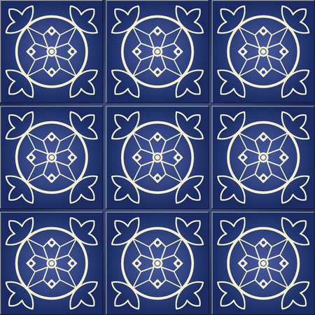 azulejo: Floral ornament. Gorgeous seamless pattern from dark blue and white Moroccan, Portuguese tiles, Azulejo, ornaments.