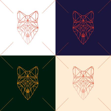 Set van vier vos hoofd geometrische lijnen silhouet geïsoleerd op achtergrond. Abstracte geometrische veelhoekige driehoek illustratie voor gebruik in het ontwerp voor kaart, uitnodiging, poster, banner.