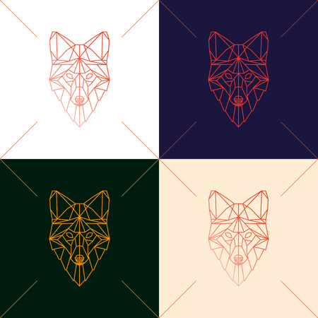 Set of four fox head geometric lines silhouette isolated on background. Abstract geometric polygonal triangle illustration for use in design for card, invitation, poster, banner.