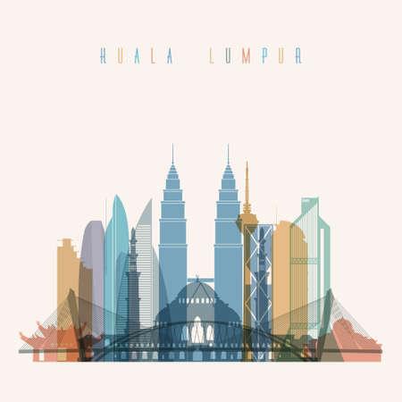 Transparent styled Kuala Lumpur skyline detailed silhouette. Trendy vector illustration. Illustration