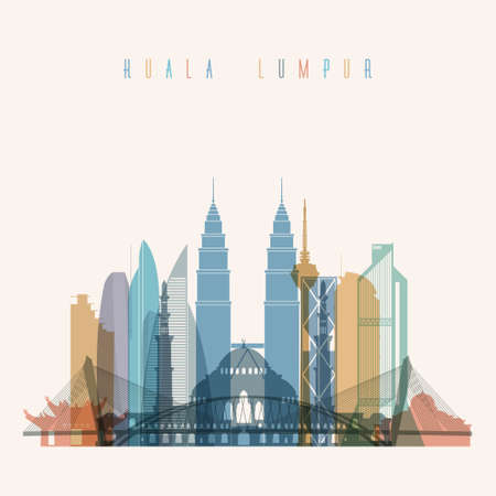 Transparent styled Kuala Lumpur skyline detailed silhouette. Trendy vector illustration. Illustration