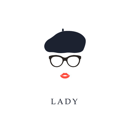 girl wearing glasses: Beautiful trendy French woman wearing glasses and beret. Fashion girl portrait.