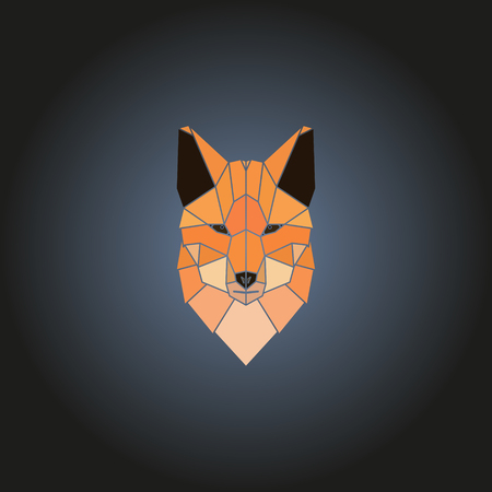 Head fox logo in geometry style. Vector design element.