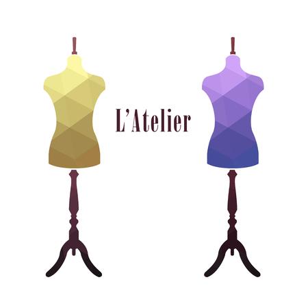 ヴィンテージ女性テーラー マネキン。ファッションのスタンド。ミシン仕立て屋のマネキン。ベクトルの図。  イラスト・ベクター素材