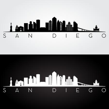 San Diego USA skyline and landmarks silhouette, black and white design, vector illustration.