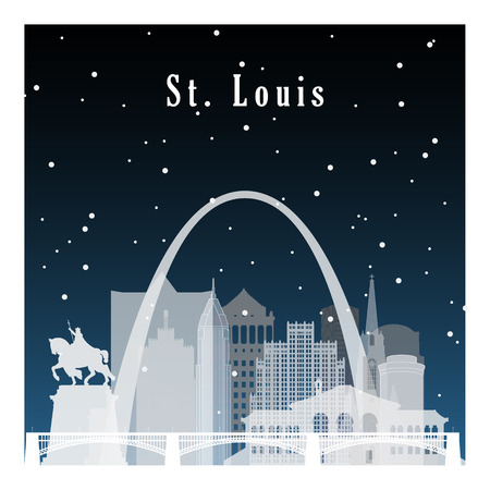 배너, 포스터, 일러스트, 게임, 배경 플랫 스타일에 밤 도시. 겨울 세인트 루이스.
