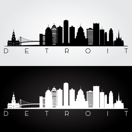 Detroit USA skyline and landmarks silhouette, black and white design, vector illustration. 矢量图像