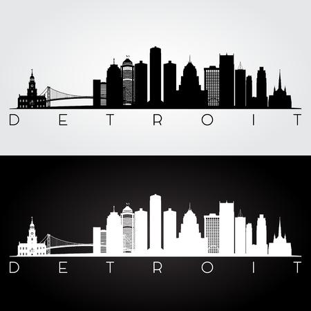 Detroit USA skyline and landmarks silhouette, black and white design, vector illustration. Vettoriali