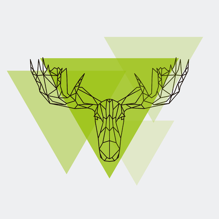 Moose head geometric lines silhouette isolated. Vector design element illustration. Illustration