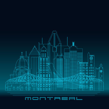 quebec city: Montreal skyline, detailed silhouette. Modern vector illustration, blue linear style.