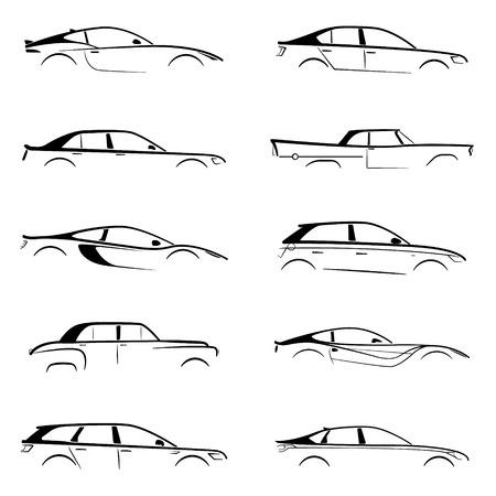 흰색 배경에 개념 검은 자동차 실루엣을 설정합니다. 벡터 컬렉션입니다.