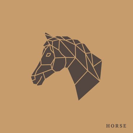 Horse head geometric lines silhouette isolated on light brown background. Vintage vector design element illustration. Horse face logo emblem template mascot symbol for business or shirt design.