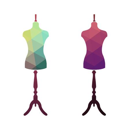 stand de mode, femme torse mannequin. adapter mannequin multicolore. mannequin de corps. la couture sur mesure mannequin. Mode Arrière-plan avec Mannequins colorés.
