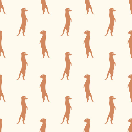 mongoose: Seamless pattern meerkat stands guard alarm attention. Abstract animal background. Brown suricate. Illustration