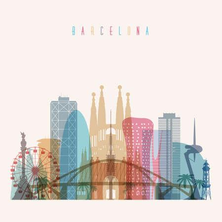 Transparent styled Barcelona skyline detailed silhouette. Trendy vector illustration.