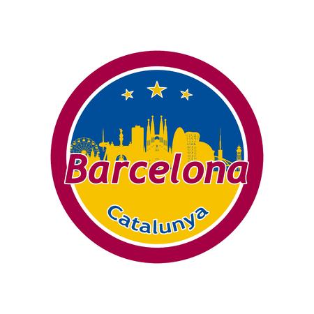 Barcellona, ??Spagna silhouette skyline della città in icona rotonda. Vettoriali